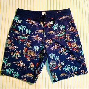 EUC Men's Hawaiian Print Board shorts Size Small